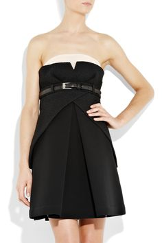 PREEN Venice broderie anglaise and bonded-twill dress