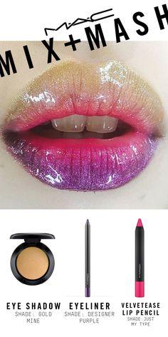 Created using Pearlglide Intense Eye Liner in Designer Purple, Velvetease Lip Pencil in Just My Type, Eye Kohl in Powersurge, Eye Shadow in Goldmine, Dazzleglass in Sugarrimmed, and Dazzleglass in Funtabulous