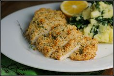 Mustard-Herb Panko Crusted Chicken Breasts. Healthy Dinner for 2. Each serving is 279 calories. This is incredibly easy, low in fat, and filling!