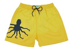 Mens swimwear octopus yellow trunks boardshorts boardies Scaphandre diving étoile de mer gris pieuvre pieuvre tweety
