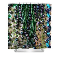 Abstract Beadwork, Sequin Bead Embroidery 09 Shower Curtain for Sale by Sofia Metal Queen, Abstract Embroidery, Bead Embroidery Patterns, Vintage Embroidery, Beaded Embroidery, Beads Pictures, Curtains With Rings, Curtains For Sale, Fabric Beads, Bead Art