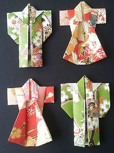 mini ballerina paper dresses | Japanese Washi Paper Origami Kimonos 4 Pieces in Beautiful Woodblock ...