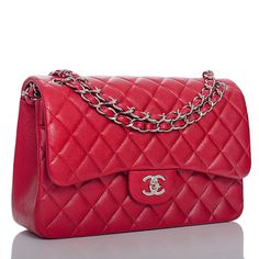 Chanel Dark Pink Quilted Caviar Jumbo Classic Double Flap Bag | From a collection of rare vintage shoulder bags at https://www.1stdibs.com/fashion/handbags-purses-bags/shoulder-bags/