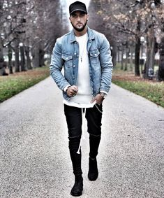 Denim jacket and black jeans Style Casual, Swag Style, Men Casual, Jean Jacket Outfits, Denim Jacket Men, Denim Jackets, Retro Mode, Mode Vintage, Style Streetwear