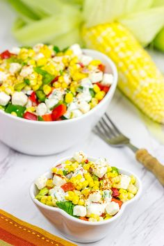 {Mexican Street Corn Salad} is the perfect summer side dish!