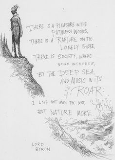 There is a pleasure in the pathless woods, there is a rapture on the lonely shore, there is society, where none intrudes, by the deep sea, and music in its roar: I love not man less, but nature more. - Lord Byron