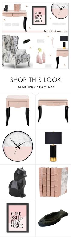 """Blush + Marble (2)"" by polly301 on Polyvore featuring interior, interiors, interior design, home, home decor, interior decorating, Renwil, PyroPet, Americanflat and Cyan Design"
