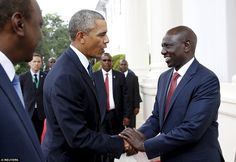 Greeting: Obama meets Kenya's Deputy President William Samoei Ruto at the State House in the capital