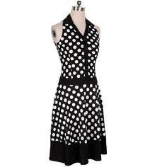 Solapa de breasted único punto vestidos lunares retro vintage vestido para las mujeres - Banggood Móvil