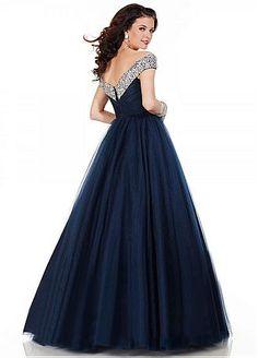 Acheter Charme Tulle hors-la-épaule Neckling-parole longueur A-ligne robe de bal pas cher chez Dressilyme.com