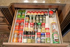 If you store your spices in a drawer definitely consider getting one of these organizers to keep things neat and tidy {featured on Home Storage Solutions 101}