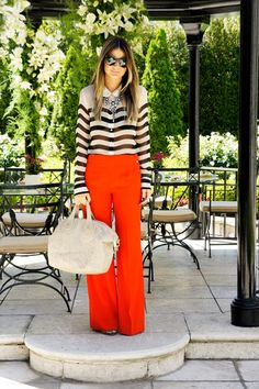 Love the wide pants and striped top combo!
