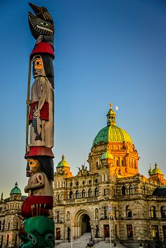 First Nations Totem Pole at British Columbia Parliament Building - Victoria, BC, Canada