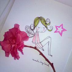 Que tal el lunes? Superado?  Buenas noches amigos!  #goodnight #flor #flower #rosa #pink #hadas #ninfas #duendes #magia #fantasía #natural #illustration #ilustración #arte #art #draw #drawing #cute #copic #gallery #galería #live #relax #volar #fly
