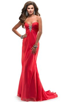 2014 Chiffon Baby Doll With Beaded Accent Ruched Sweetheart Evening Dress