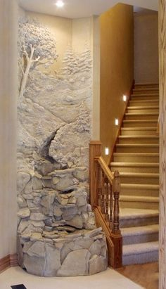 Entryway indoor waterfall by Tom Moberg ~ Moberg Gallery: Artist Portfolios Plaster Art, Plaster Walls, Decoration Ikea, Wall Sculptures, Wall Murals, Interior And Exterior, My House, Interior Decorating, Interior Design