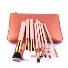 Wholesale alibaba maquillaje soft nylon private label makeup brush for drill with cases