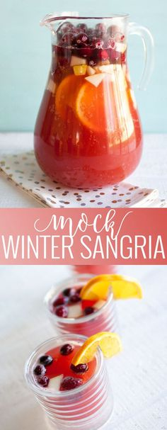 Mock Winter Sangria | non-alcoholic sangria recipes | mocktail recipes | easy drink recipes | winter drink recipes | homemade sangria recipe || Oh So Delicioso #mocktailrecipe #nonalcoholicdrink #easysangria