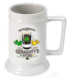 Whether they favor a lager, ale, malt or light beer, they'll toast you whenever they pour themselves a cold one. Each personalized white ceramic mug holds 16 ounces of your favorite beverage. Specify name, and year. Dishwasher safe.