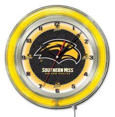 Southern Mississippi Golden Eagles 19-Inch Neon Logo Clock