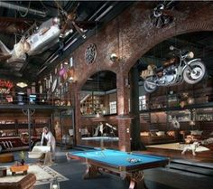 Here are 40 of our best picks for most beautiful loft living spaces! Read what is a loft apartment and loft style. Get ideas for your loft homes. Design Garage, Loft Design, House Design, Lofts, Man Cave Loft, Zigarren Lounges, Warehouse Living, Warehouse Loft, Industrial House