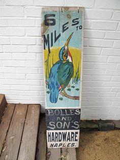 vintage trade sign 1920's naples NY wooden advertising sign folk art original