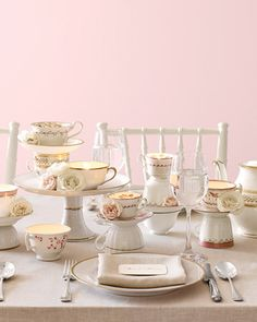 Martha Stewart tea cup centerpieces