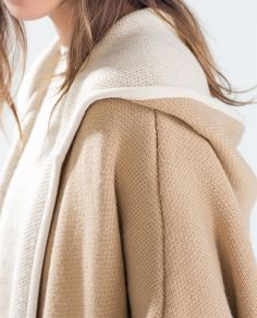 HOODED CAPE WITH PIPING from Zara