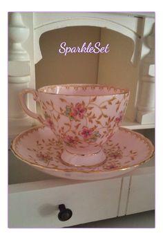 Vintage Rare Pink Tuscan Fine English Bone China by SparkleSet, $37.50