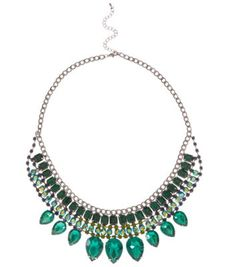Green Gem Stone Bib Necklace