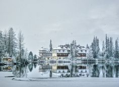 Hotel at mountain lake Strbske pleso Fly Around The World, Around The Worlds, High Tatras, Heart Of Europe, Beautiful Places In The World, My Childhood Memories, Winter Time, Travel Inspiration, Scenery