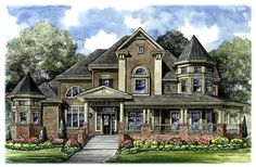 House Plan 61794 | Victorian    Plan with 4756 Sq. Ft., 3 Bedrooms, 4 Bathrooms, 3 Car Garage