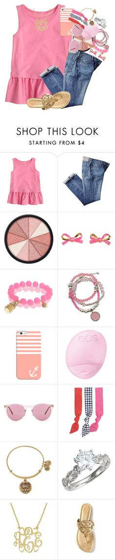 """""""{touch of gold}"""" by thefashionbyem ❤ liked on Polyvore featuring J.Crew, Smashbox, Kate Spade, GUESS, Casetify, Eos, Oliver Peoples, Splendid, Alex and Ani and Tory Burch"""
