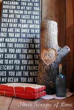 While carving your name into a tree may seem like a movie-worthy romantic gesture, this smaller log will make you smile every day of the year. Get the tutorial at Three Scoops of Love.