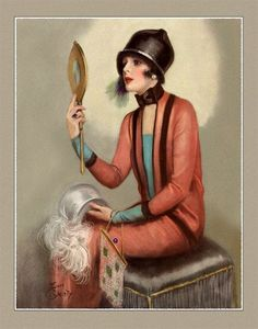 Beautiful Art Deco Flapper Fashionably Dressed Looking in Mirror Giclee Art Print by Earl Christy 11x14 (DragonflyMeadowsArt)
