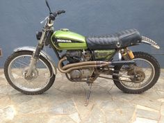 """1975 CL360 with 21"""" SL350 front wheel and 5"""" extended swingarm with 17"""" sandrail shocks"""