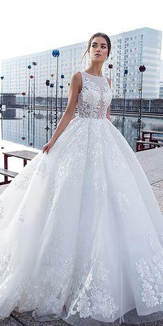 21 Princess Wedding Dresses For Fairy Tale Celebration ❤️ princess wedding dresses jewel neckline floral lace embellishment lorenzo rossi ❤️ Full gallery: https://weddingdressesguide.com/princess-wedding-dresses/