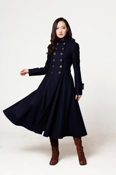 Navy Blue Coat Big Sweep Wolle Wintermantel Long Jacket Tunika / Schnelle Lieferung - NC564