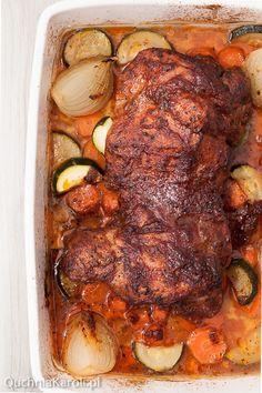 Pieczony udziec z indyka Polish Recipes, Polish Food, Poultry, Pork, Turkey, Food And Drink, Meat, Chicken, Cooking