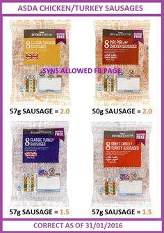 Asda chicken/turkey sausages syn value. Asda Slimming World, Slimming World Tips, Turkey Sausage, Chicken Sausage, Slimming World Survival, Fat Fighters, Vegan Coleslaw, Skinny Girls, Diet Motivation