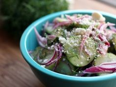 Pickled Cucumber Salad with Red Onions and Feta : Recipes : Cooking Channel - my side dish for Labor Day.