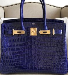 e297691e9322 Hermes Birkin in Bleu Electrique Nilo crocodile with gold hardware