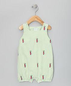 Lime Stripe Golf Bubble Romper - Infant by K