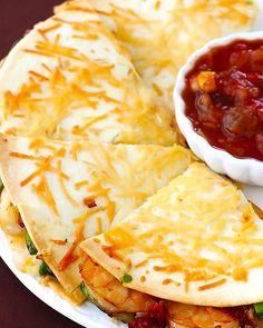 Parmesan-Crusted Shrimp Quesadillas more seafood recipes