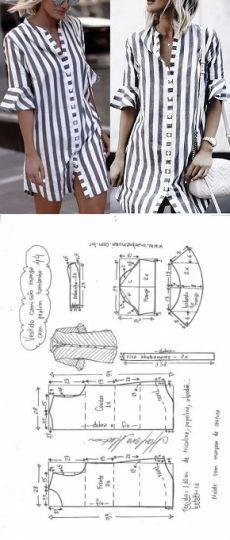 Vestido camisa com manga peplum Dress Sewing Patterns, Sewing Patterns Free, Clothing Patterns, Fashion Sewing, Diy Fashion, Fashion Outfits, Shirt Dress Pattern, Sewing Blouses, Diy Clothing