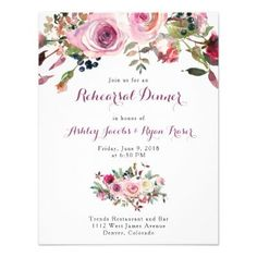 Purple Pink Rose Floral Rehearsal Dinner Card - autumn wedding diy marriage customize personalize couple idea individuel