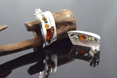 Sterling silver earrings with amber tears.