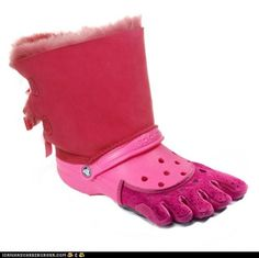 Ugg/Crock/Five Fingers all in one! The three worst/uggliest shoes ever invented!
