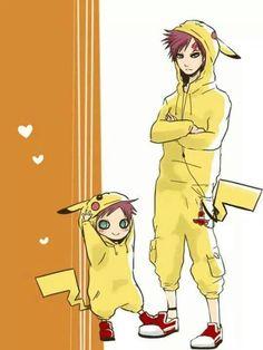 Looks like Gaara must be a pikachu fan lol #Naruto x #Pokemon