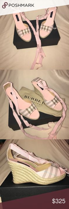 NEW BURBERRY ESPADRILLES Sweet BURBERRY Espadrille tie up wedges. Gentle pink color perfect for spring and summer coming up. NEVER WORN and 100% Authentic. Comes with one Burberry dust bag. Burberry Shoes Espadrilles